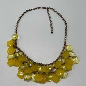 Bib Statement Necklace Yellow Beaded Boho Fun